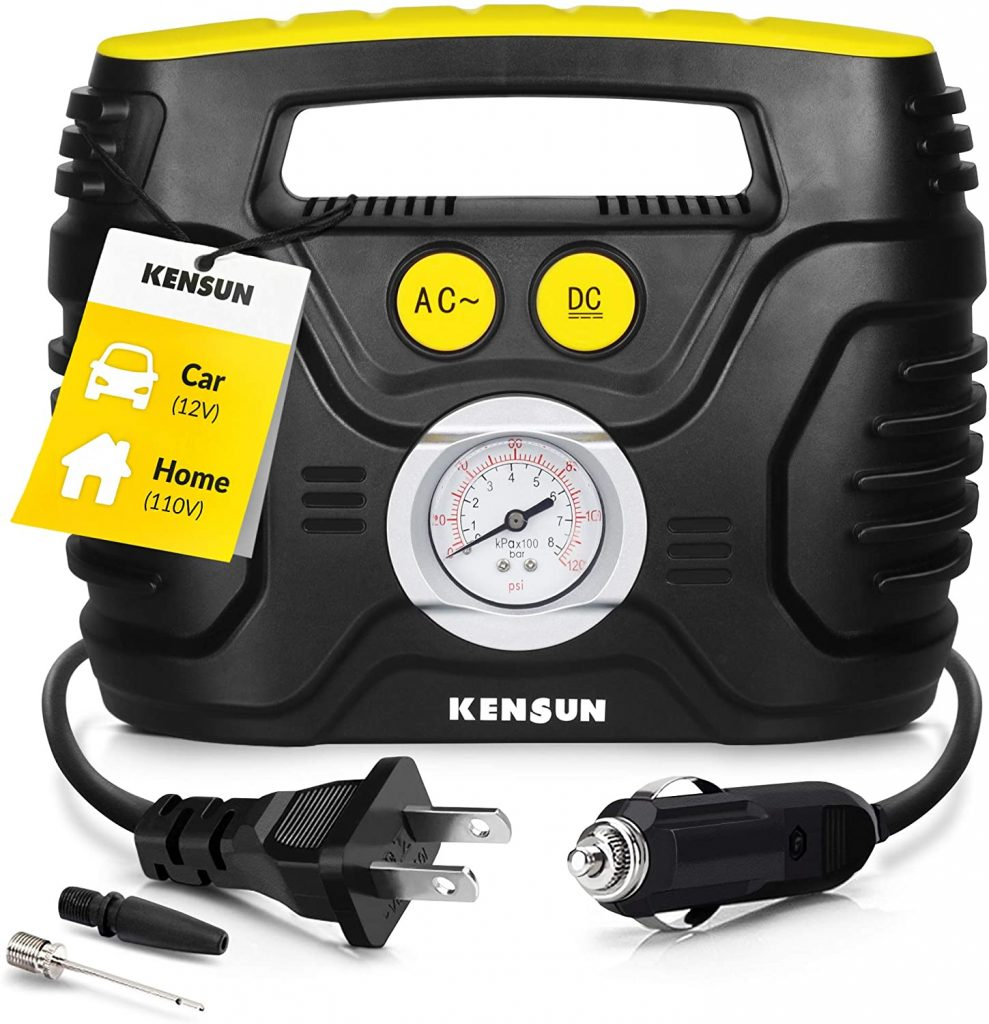 Kensun AC or DC Tire Inflator Portable Air Compressor Pump